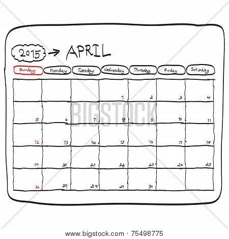 April 2015 Planning Calendar Vector, Doodles Hand Drawn