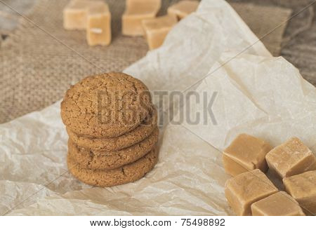 Sweet caramel candy with cookies