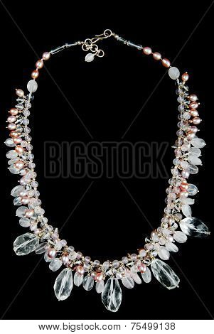 Necklace with Pearls, Stones and Beads, on Black Background
