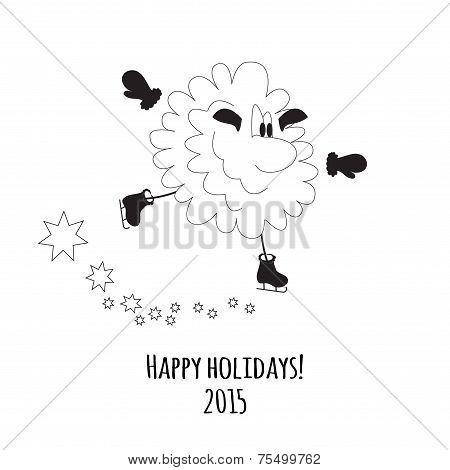 Cartoon Sheep On Skates Vector