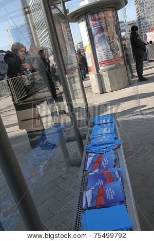 An Independent Report By Boris Nemtsov Putin Results Laid Out At The Bus Stop Next To The Opposition