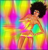 foto of afro  - Disco Dancing Woman with Afro - JPG