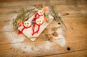 stock photo of christmas meal  - Funny rice snowmen a kid meal for Christmas - JPG
