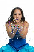image of quinceanera  - Teenage girl in prom dress with glitter - JPG