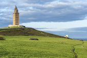 picture of hercules  - Tower of Hercules the almost 1900 years old and rehabilitated in 1791 55 metres tall structure is the oldest Roman lighthouse in use today and overlooks the Atlantic coast of Spain from A Coruna - JPG