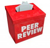 stock photo of coworkers  - Peer Review Words in 3d letters on a red box collecting evaluations - JPG