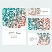 pic of indian wedding  - Set of business card and invitation card templates with lace ornament - JPG