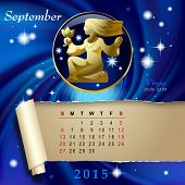 pic of virgo  - Simple monthly page of 2015 Calendar with gold zodiacal sign against the blue star space background - JPG