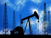picture of nonrenewable  - Oil Wells Representing Power Source And Electric - JPG