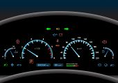 stock photo of speeding car  - Car dashboard modern automobile control illuminated panel speed display vector illustration - JPG
