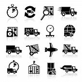 foto of fragile sign  - Logistic chain safety fragile delivery transportation black icons set isolated vector illustration - JPG