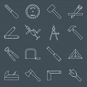 stock photo of carpentry  - Carpentry wood work tools and equipment outline icons set with hammer saw pliers isolated vector illustration - JPG
