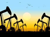 stock photo of nonrenewable  - Oil Wells Indicating Oilfield Extraction And Industry - JPG