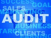 stock photo of financial audit  - Audit Words Showing Auditing Auditor And Inspect - JPG
