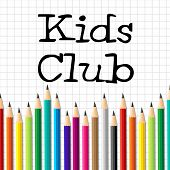 pic of youngster  - Kids Club Pencils Representing Youngster Group And Children - JPG