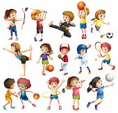 stock photo of archery  - Kids playing various sports on white - JPG