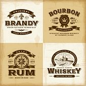 picture of whiskey  - Vintage alcohol labels set - JPG