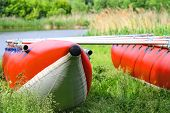image of raft  - Catamarans for rafting on the river bank - JPG
