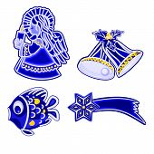 stock photo of comet  - Christmas decoration blue faience vintage angel bells fish and comet vector illustration - JPG