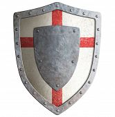 foto of crusader  - Old templar or crusader metal shield isolated on white - JPG