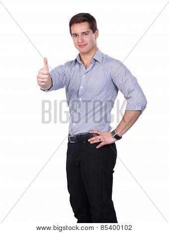 Man showing ok, isolated on white background