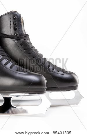 Figure Skating Concept: Closeup Shot Of Professional Mens Figure Skates Isolated Over White Backgrou