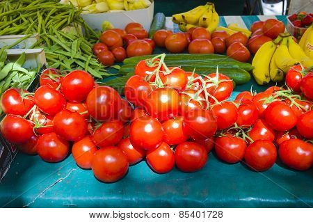 Fresh Tomatoes And Beans In French Market In Paris France