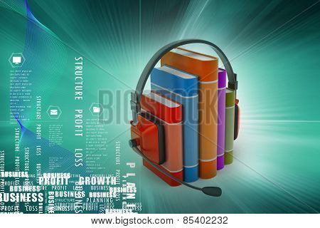 audio book concept with headphones and books