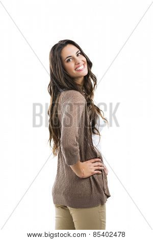 Beautiful woman smiling, isolated on white