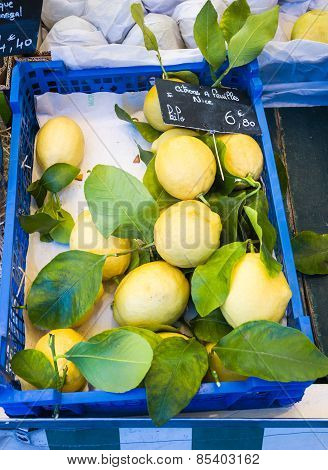 Yellow lemons in blue box in French market in Paris, France