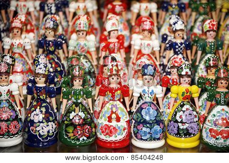 Wooden Dolls In Hungarian Folk Costumes As Souvenir In Row