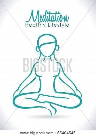 Meditation design over white background vector illustration