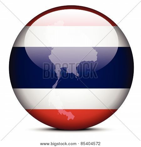 Map On Flag Button Of Kingdom Thailand