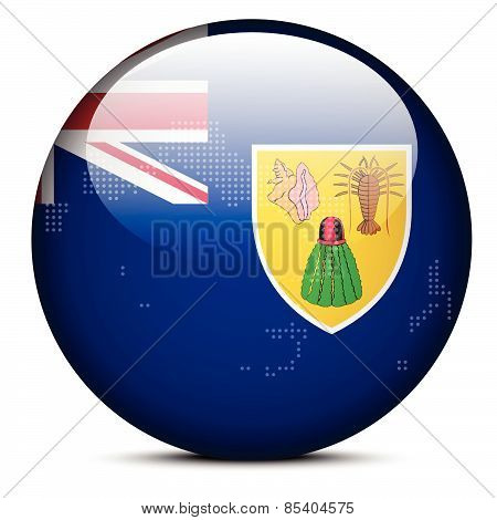 Map With Dot Pattern On Flag Button Of Turks And Caicos Islands, British Overseas Territory
