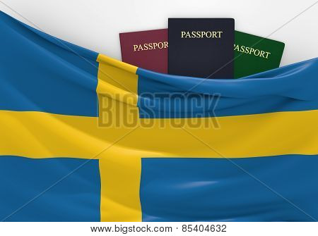 Travel and tourism in Sweden, with assorted passports
