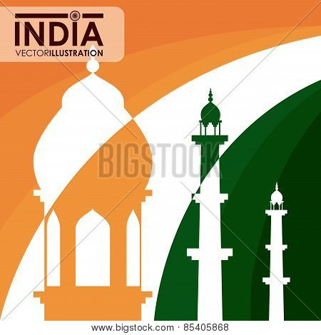 India design over india flag background vector illustration