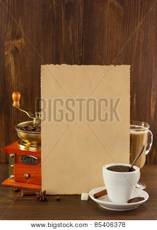 coffee concept on wooden background