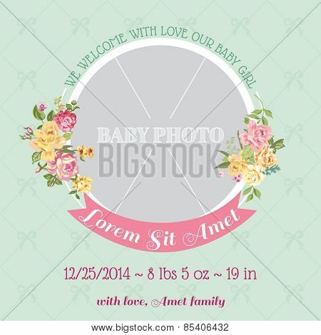 Baby Arrival Card - with Photo Frame and Floral Blossom Design -  in vector