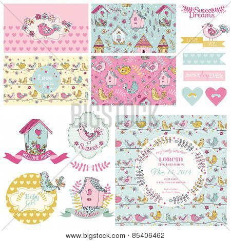 Cute Bird Party Set - for Baby Shower, Wedding, Party Decoration - in vector