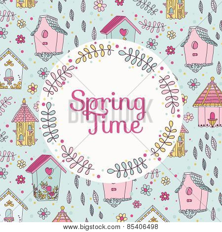 Cute Bird House Card - Spring Time - in vector
