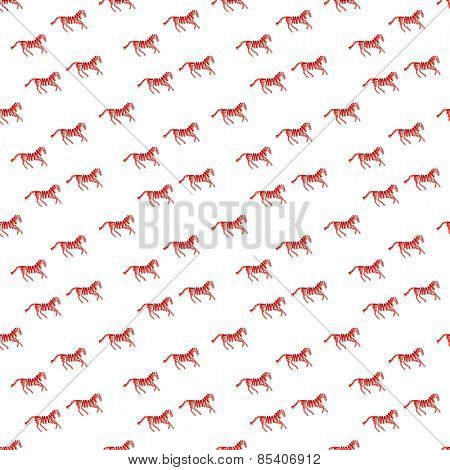Abstract pattern with red horse made from ribbons