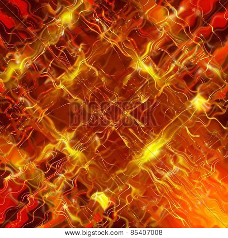Glittering stars blurred yellow and red background