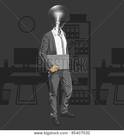 Vector Idea and concept. Lamp head business man with laptop in his hands