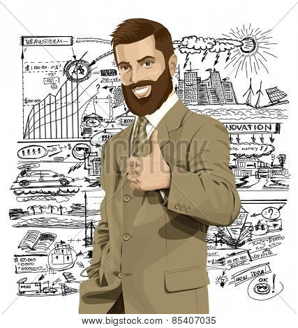 Vector hipster business man with beard shows well done