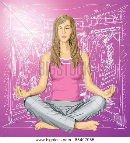 Vector woman meditating in lotus pose thinking about shopping