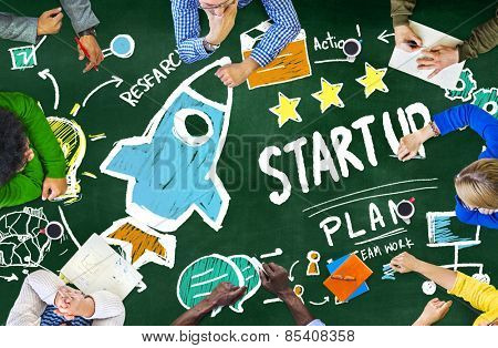 Start Up Business Launch Success Students Learning Concept