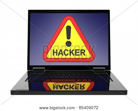 Hacker warning sign on laptop screen. Computer generated 3D photo rendering.