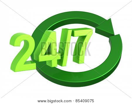 24 hours a day and 7 days a week sign isolated over white. Computer generated 3D photo rendering.