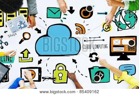 Diversity People Cloud Computing Brainstorming Meeting Concept