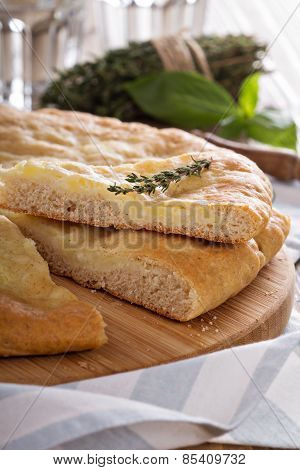 Traditional yeast flatbread with potato